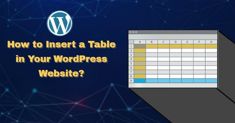 wordpress insert table