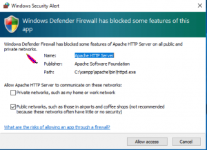 windows firewall notification
