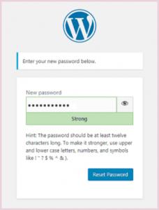 wordpress password reset screen