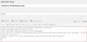 Add Paypal Donate Button code WordPress
