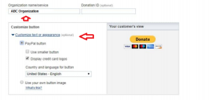 Customize text or appearance of paypal button
