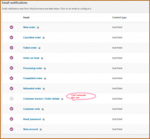 WooCommerce email triggers